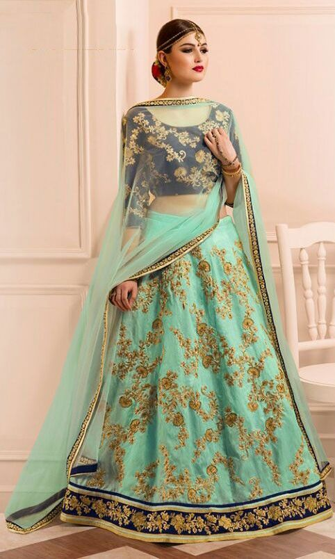 Angelic Aqua Mint Wedding Wear Lehenga Choli