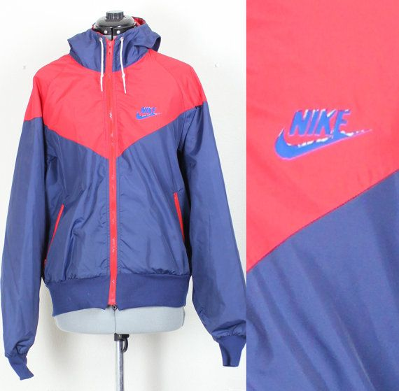 Vintage Retro Blue and Red Nike Windbreaker Track Jacket Grey Tag AW77