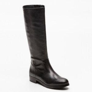 Botas de cuero Cyndi negras  Caña: 36 cm