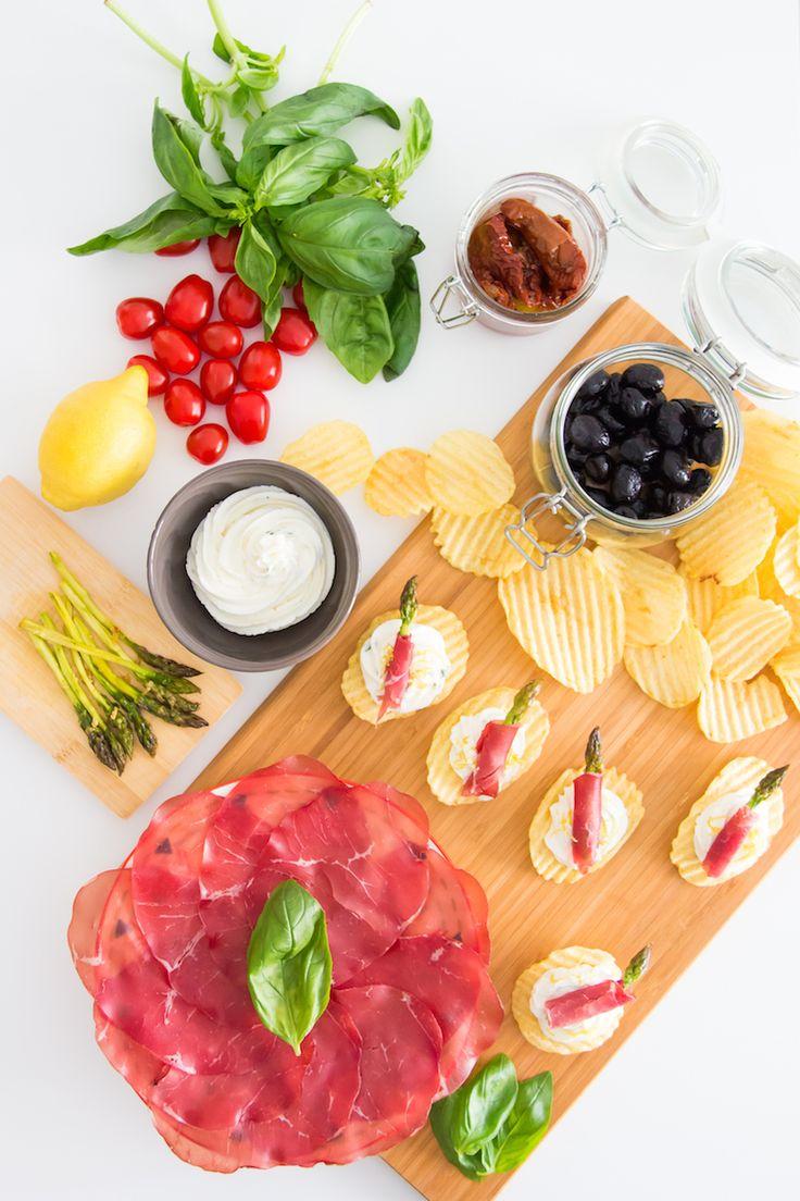 Recette apéritive : chips asperges rôties-bresaola-ricotta #aperitif