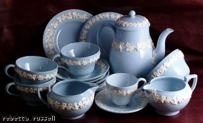 Antique Wedgewood Blue & White Queensware China. My formal china passed down to me from my grandmother. It's the most beautiful shade of blue with a raised white leaf pattern. I treasure each piece <3