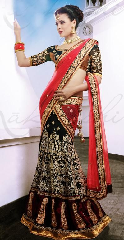 $158.34 Red and Black Faux Georgette Embroidered with Stone Work Lehenga Saree…
