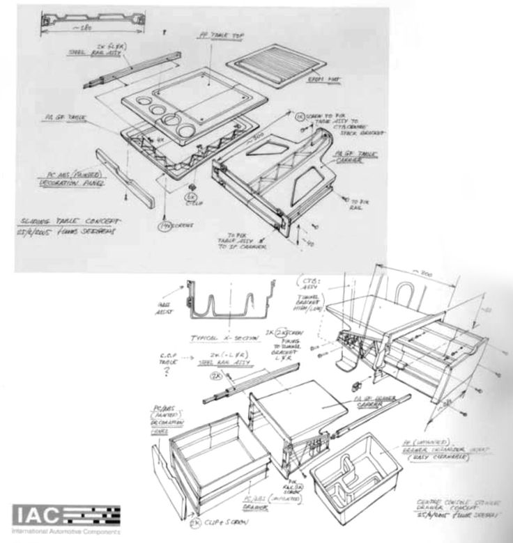 """These examples of exploded views show a sliding table concept and centre console stowage concept for a truck instrument panel application, 2005. A typical use for these sketches is to give cost estimations input on the concept, to enable them to make a first quote."" ""SKETCHING - drawing technics for product designers"" by Koos Eissen & Roselien Steur, 2007 BIS Publishers, p.186"