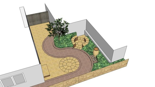 Large preview of 3D Model of Low maintenance courtyard garden design by MIke Bradley