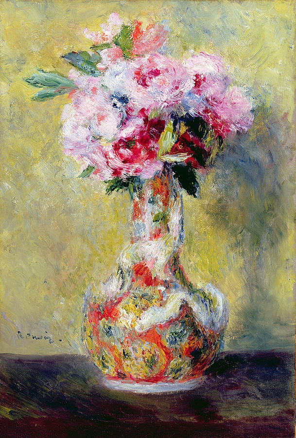 Bouquet in a Vase     Pierre Auguste Renoir. Renoir used blue pigments to render the shadow cast by the vase.  Renoir lavished thick, rich strokes upon the profusion of blossoms, their porcelain vase, and even the wall behind them.