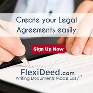 www.FlexiDeed.com helps Individuals, Lawyers, Charted Accountants, Company Secretaries and Business professionals create their Agreements quick and easy. Pick and customize your Agreement from a large repository of templates in categories like Sale / Lease / Pledge / Hypothecation / Mercantile / Agency / Loan / Contract For Services / Escrow / Indemnity and etc. Sign-up and create your Agreements today.
