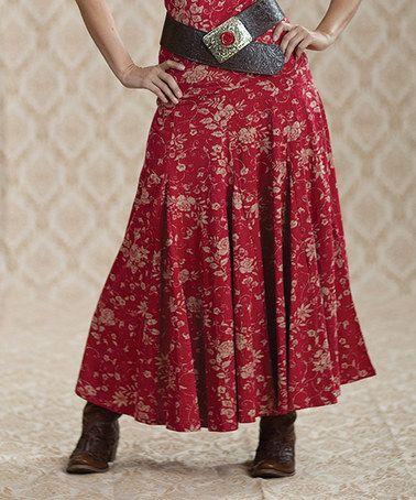 Love this Red Vine Rose Textured Maxi Skirt - Women by Rancho Estancia on #zulily! #zulilyfinds