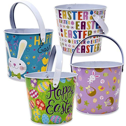 Gift Boutique Metal Tin Easter Bucket Pails Set of 4 Round Baskets with Handles for Kids Party Favor Supplies