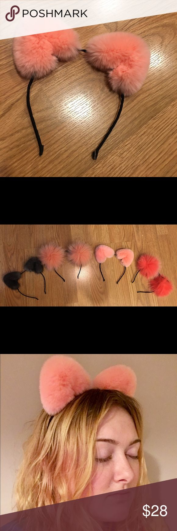 Pink rex rabbit fur Ariana Grande style cat ears Fun, spunky Ariana Grande style fur cat ears. Real rex rabbit fur. The softest fur you can buy! So fuzzy! Adorable pink fur wrapped and affixed around black cat ear headband frame. Perfect for parties, costumes, or everyday flair! Custom made, brand new with tags, never been worn. Check other listings for different color combos and fur styles! Accessories Hair Accessories