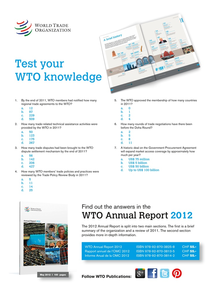 47 best learn about the wto images on pinterest 20 years events of the organization an overview of 2011 and a detailed review of the wtos main areas of activity trade negotiations implementation of wto agreements platinumwayz