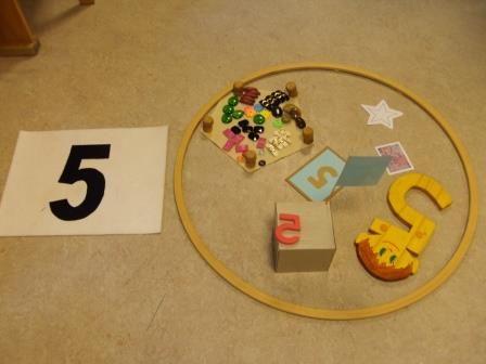 Kinder sammeln sich in der Garderobe und betreten, auf mein Zeichen,  über den Zahlenweg 1-5 , laut zählend, das Zahlenland. Im Hintergrund...