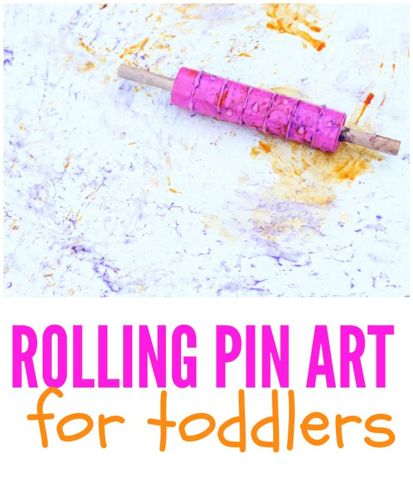This rolling pin art for toddlers is the perfect outdoor art project this summer! Just grab some paper, a rolling pin, and washable paint to get started.