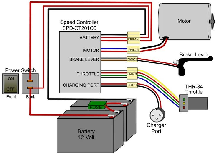 electric mobility scooter battery wiring diagram rj31x