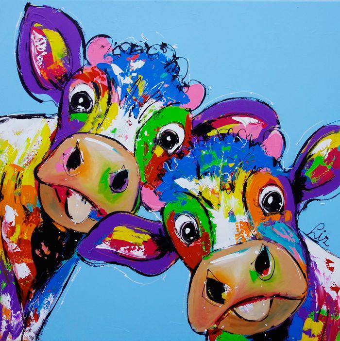 Cows in blue - www.vrolijkschilderij.nl
