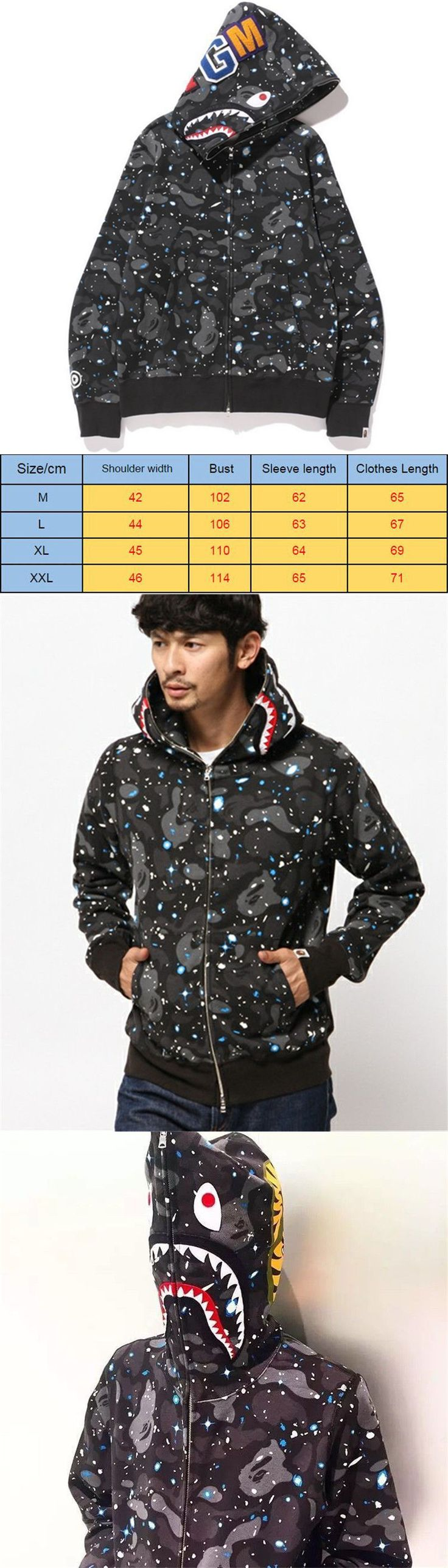 Sweats and Hoodies 155183: A Bathing Ape Bape Camouflage Coat Shark Head Full Zip Jacket Hoodie Sweatshirt~ -> BUY IT NOW ONLY: $43.39 on eBay!