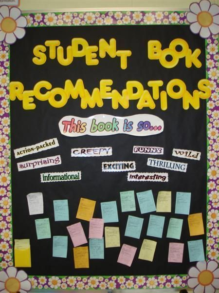 What a great interactive reading bulletin board! Students recommend books to one another. This would be great in a classroom, library, OR hallway! (Broken link, but easy to replicate based on picture.)