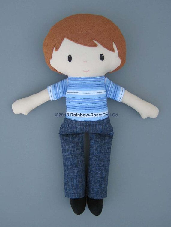 Cloth Doll Rag Doll PDF Pattern Blue Jean Boy by rainbowrosedollco, $12.00