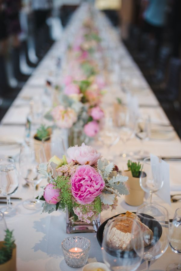 Pink Peony Banquet Table Floral