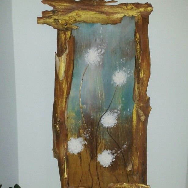 Painting in wooden board, mixed technique, fireplace decor,  flowers gold mint brown white!
