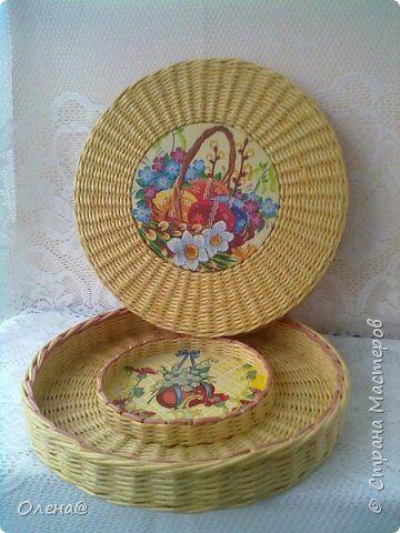 Поделка изделие Пасха Плетение Пасхальные плетенки  Трубочки бумажные фото 9