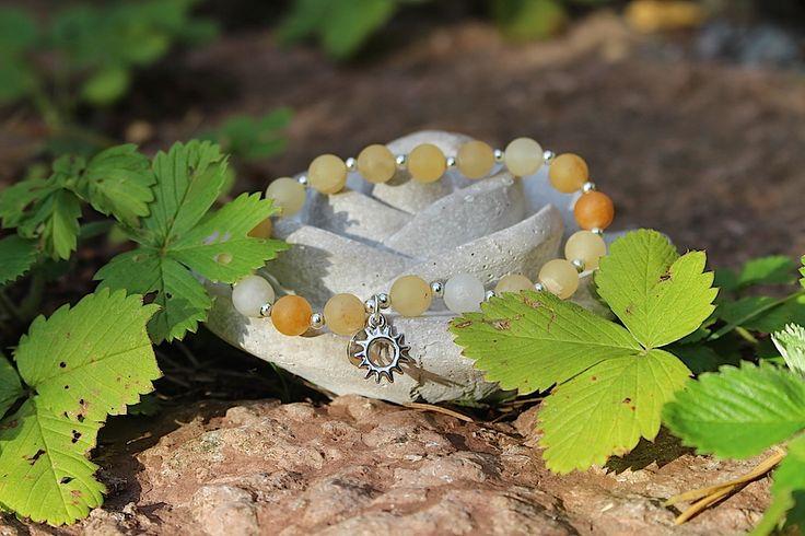 Mala bracelet, 18 gemstones, yellow serpentine. Bright as the sunshine ☀️