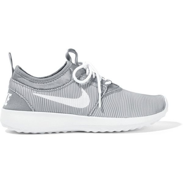 Nike Juvenate rubber and jersey sneakers ($100) ❤ liked on Polyvore featuring shoes, sneakers, grey, nike, gray shoes, nike trainers, striped sneakers and gray sneakers