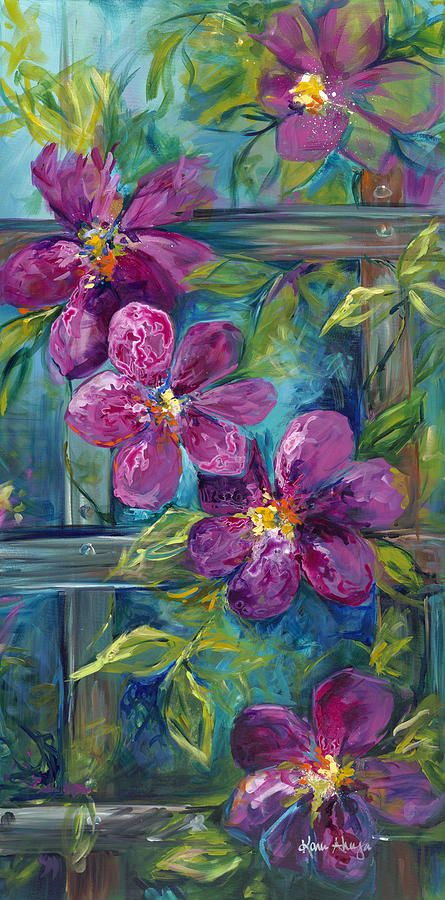 Clematis Turquoise Garden Painting by Karen Ahuja.  Available at Fineartamerica.com