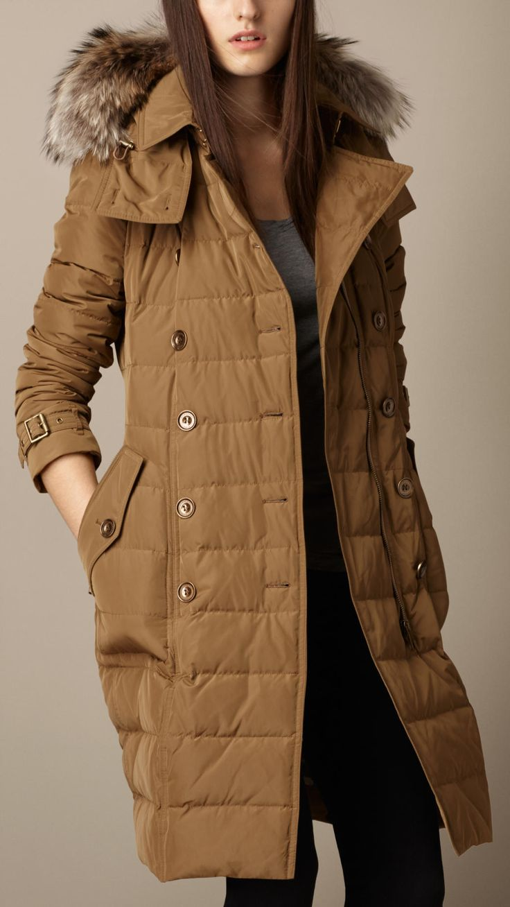 Down-Filled Coat with Fur Trim
