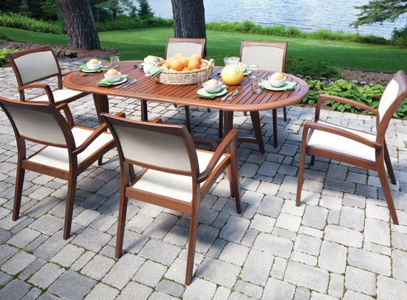 topaz stacking oval extension table with stacking sling chairs by jensen leisure available from richu0027s wood patio