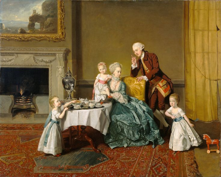 Johann Zoffany - John, Fourteenth Lord Willoughby de Broke, and his Family, 1766. Extralarge HD