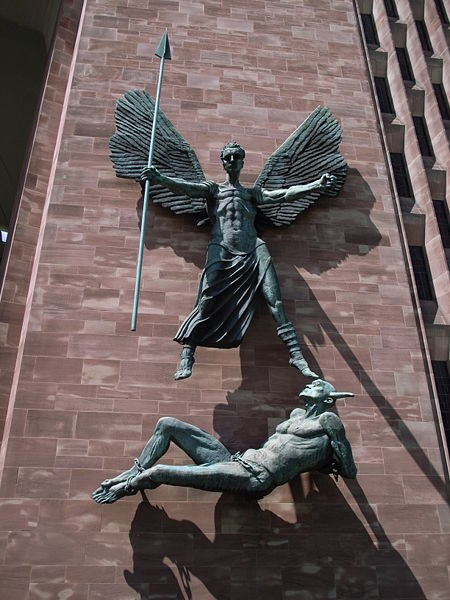 Statue of St Michael and Satan, Coventry Cathedral, Coventry, West Midlands