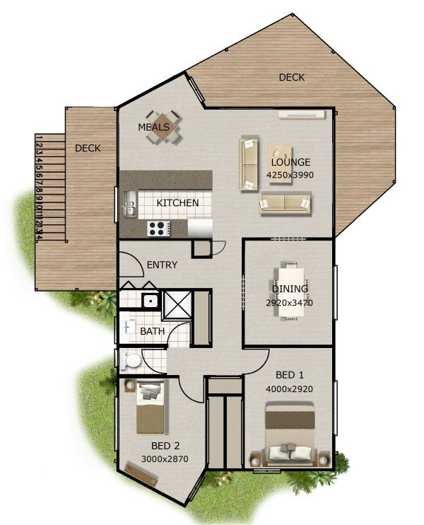 small house plan 2 bedroom