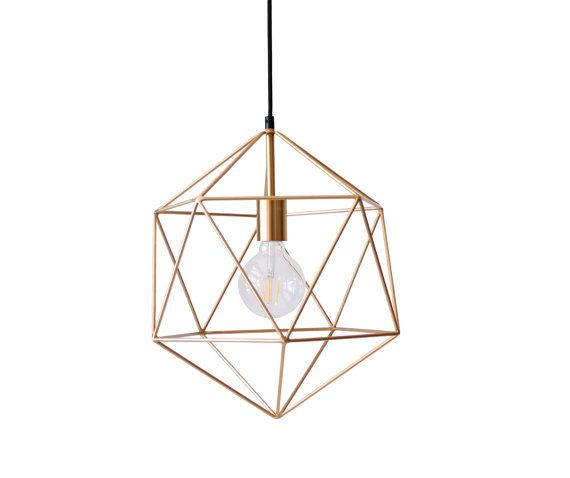 Handmade geometric icosahedron pendant light. The metal geometric lampshade is inspired by Platonic icosahedron and it is made of metal nerves welded together. A light bulb socket, which is hidden in a metal cup in black color, is installed inside the metal globe. The lamp is wired