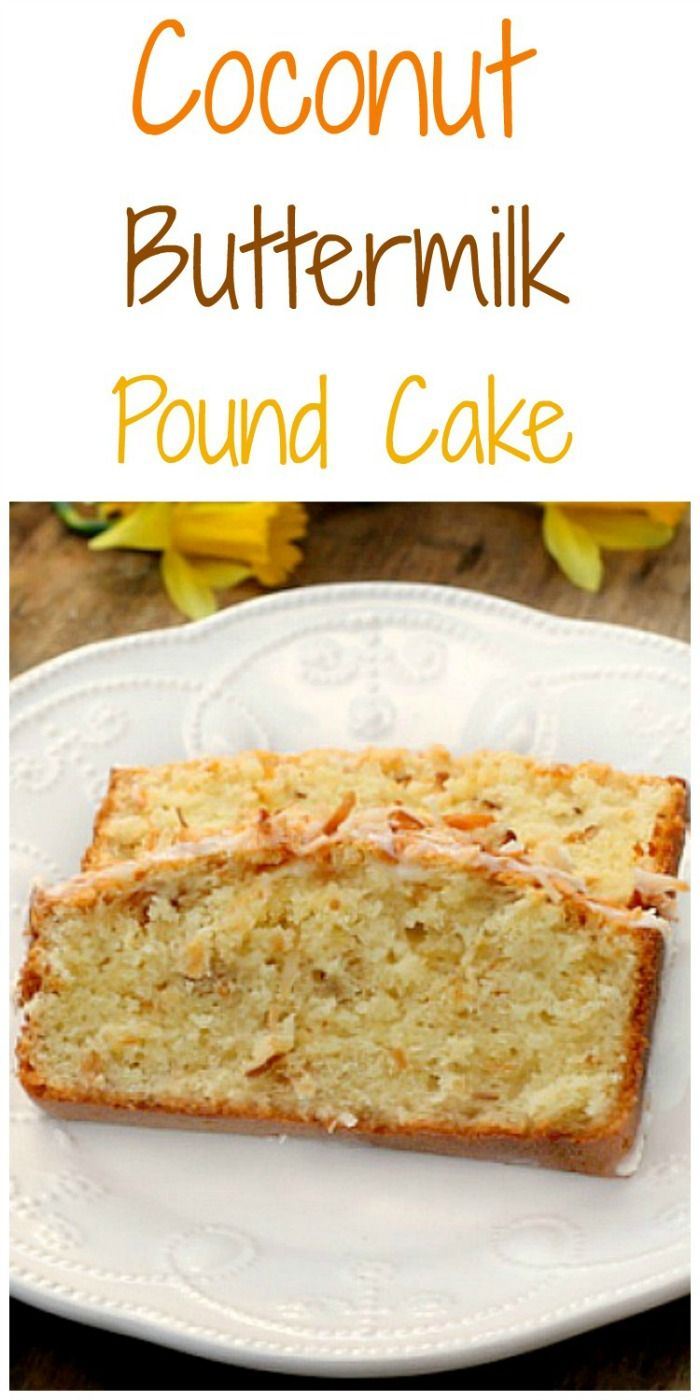 Buttermilk Coconut Pound Cake An incredibly fluffy tender buttermilk pound cake filled with toasted coconut and topped with a buttermilk milk glaze and MORE toasted coconut! Delicious !