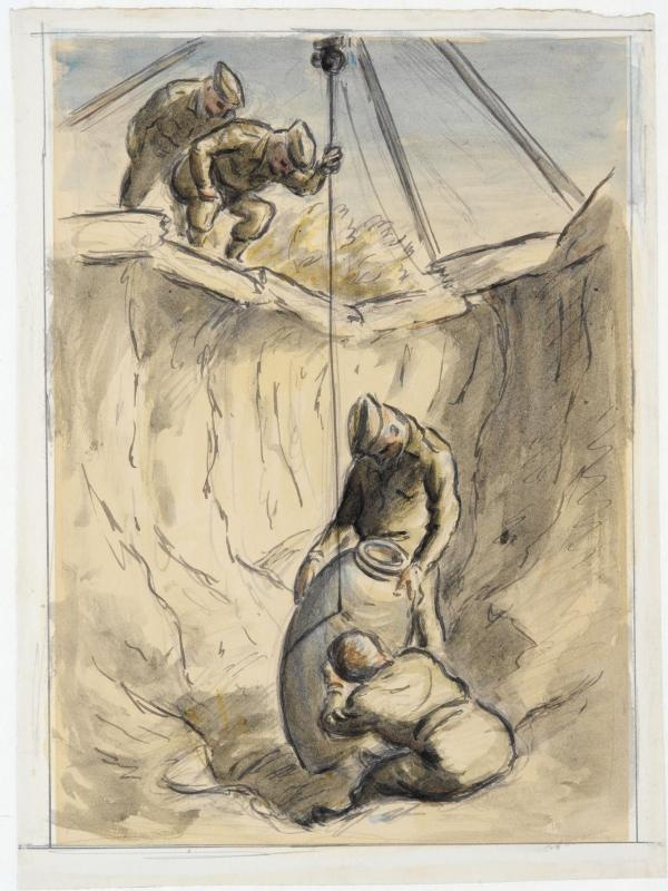 Examining the Fuze of a Bomb  (art) Made by: Ardizzone, Edward Jeffrey Irving 1940  image: Two soldiers examine a bomb in a crater. Two other soldiers watch them from above, one is holding the winch line steady.