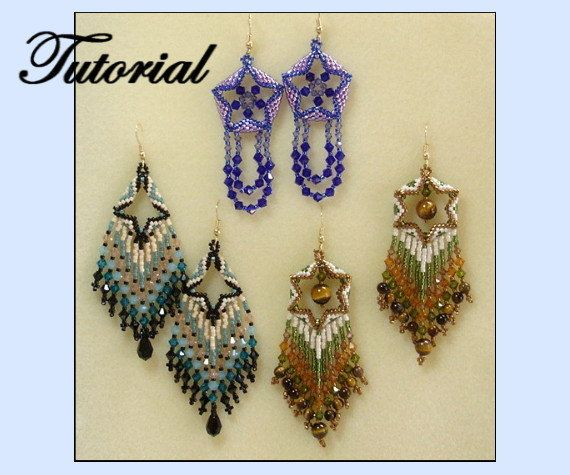 Dimensional Beaded Earring Set by beadedpatterns on Etsy