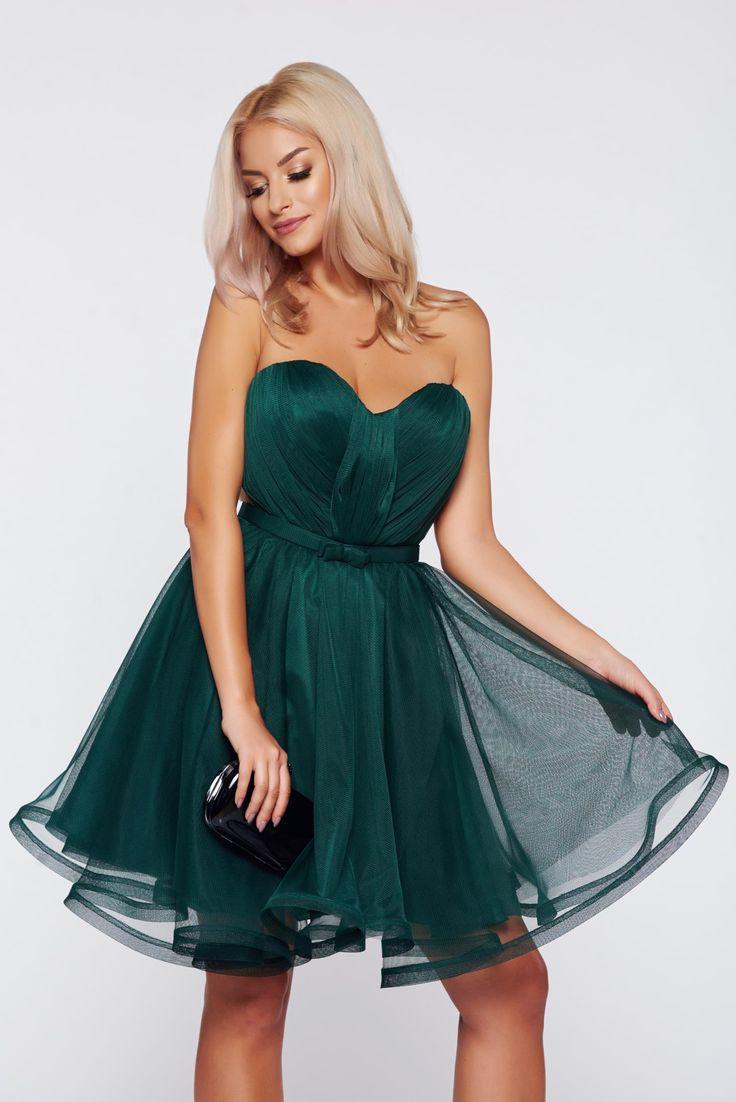 Comanda online, Rochie Ana Radu verde-inchis de ocazie tip corset cu bust buretat. Articole masurate, calitate garantata!