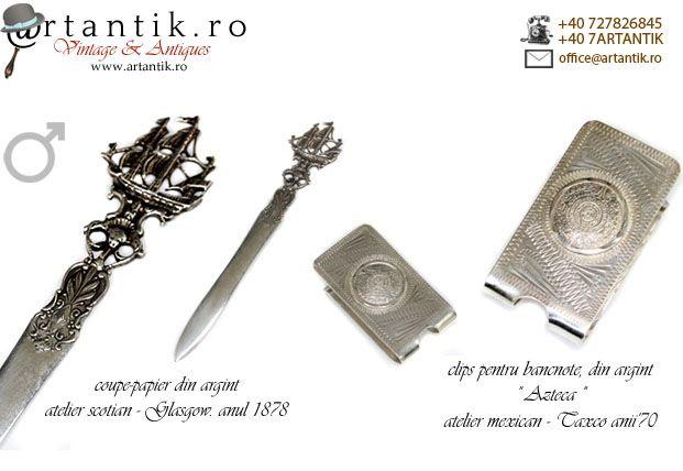 accesorii argint, cadouri pentru el, clips argint, cutit scrisori