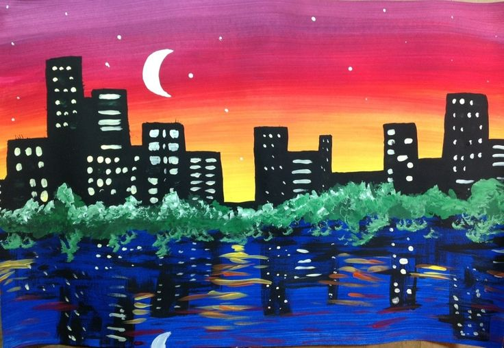 Night City SkyLine Painting Lesson  @ www.createartwithme.com