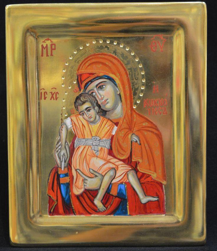 Orthodox Icon Greek Byzantine Handpain 24k GOLD Virgin Mary Kikotisa ATHOS Style