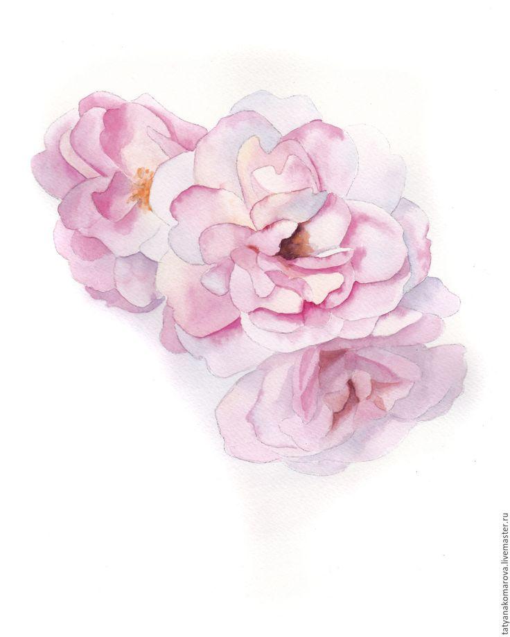 """Купить Акварельная картина """"Розы"""" - бледно-розовый, картина, картина в подарок, картина для интерьера"""