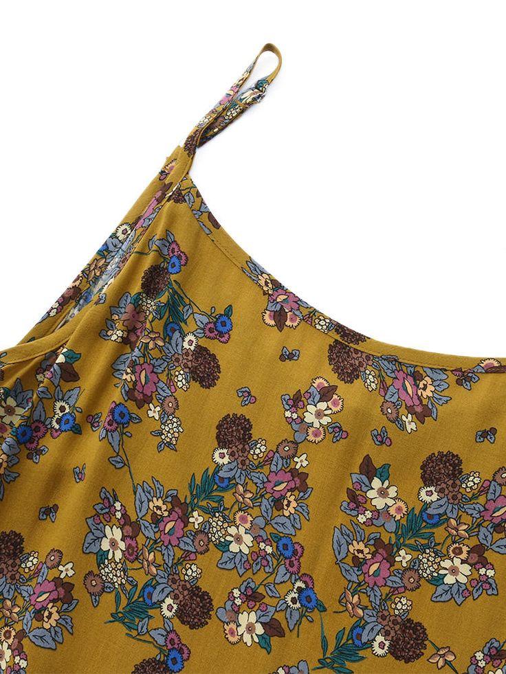 Gracila Bohemian Women Spaghetti Strap Floral Printed Loose Maxi Dresses at Banggood