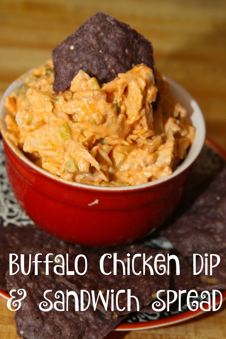 Perfect Party Buffalo Chicken Dip and Sandwich Spread Appetizer- made in minutes with just 4 ingredients!