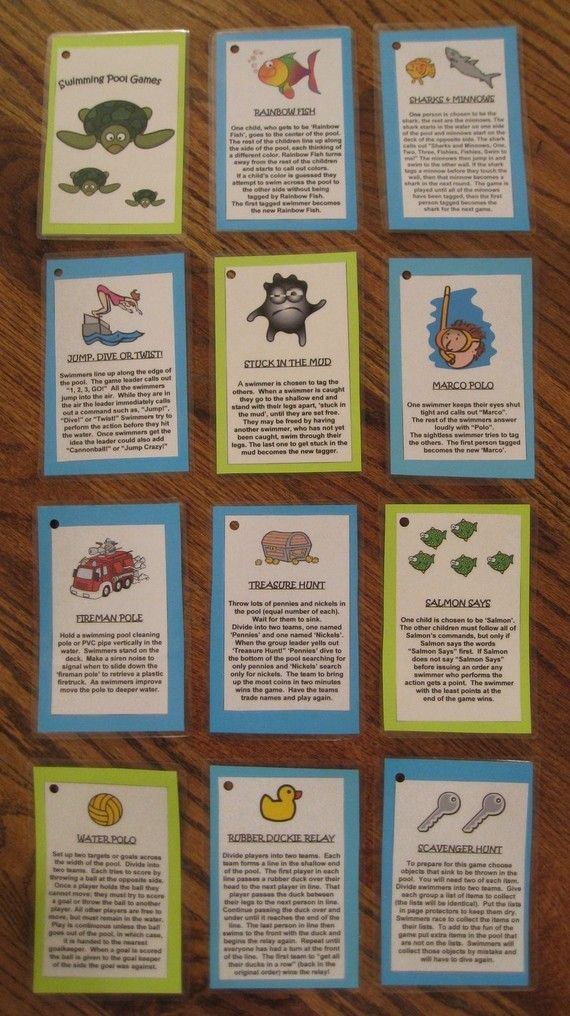 Swimming Pool Games Laminated Cards. $6.00, via Etsy.