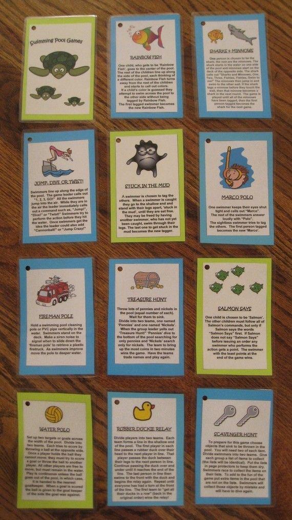 Swimming Pool Games Laminated Cards. $6.00, via Etsy.