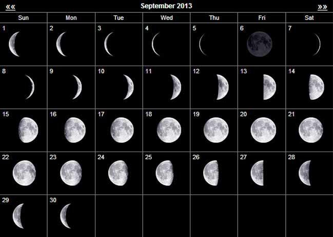 September 2013: September 2013 Moon Calendar.