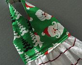 Hanging Kitchen Dish Towel Santa and Mustache Trees Fabric