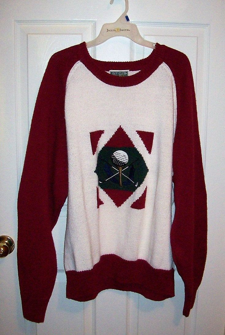 Vintage Men's Burgundy & White Golf Sweater by Ivy Club Classics XL Only 6 USD by SusOriginals on Etsy