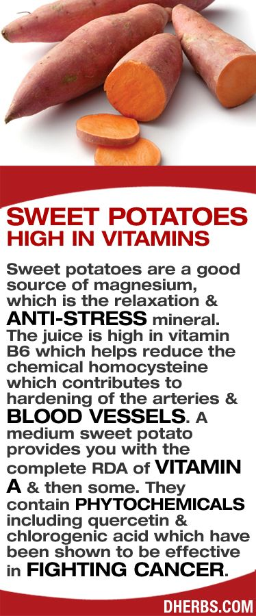 sweet potatoes high in vitamins    Sweet potatoes are a good source of magnesium, which is the relaxation & anti-stress mineral. The juice is high in vitamin B6 which helps reduce the chemical homocysteine which contributes to hardening of the arteries & blood vessels. A medium sweet potato provides you with the complete RDA of vitamin A & then some. They contain phytochemicals including quercetin & chlorogenic acid which have been shown to be effective in fighting cancer. #dherbs…