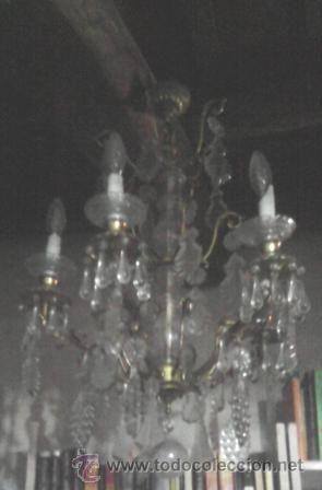 Magnífica lámpara de cristal y bronce. 5 brazos, araña de tres pisos. La Granja